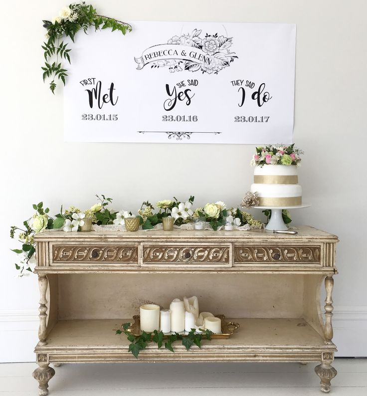 Custom designed Wedding signage. We Met - She said Yes - We said I do!