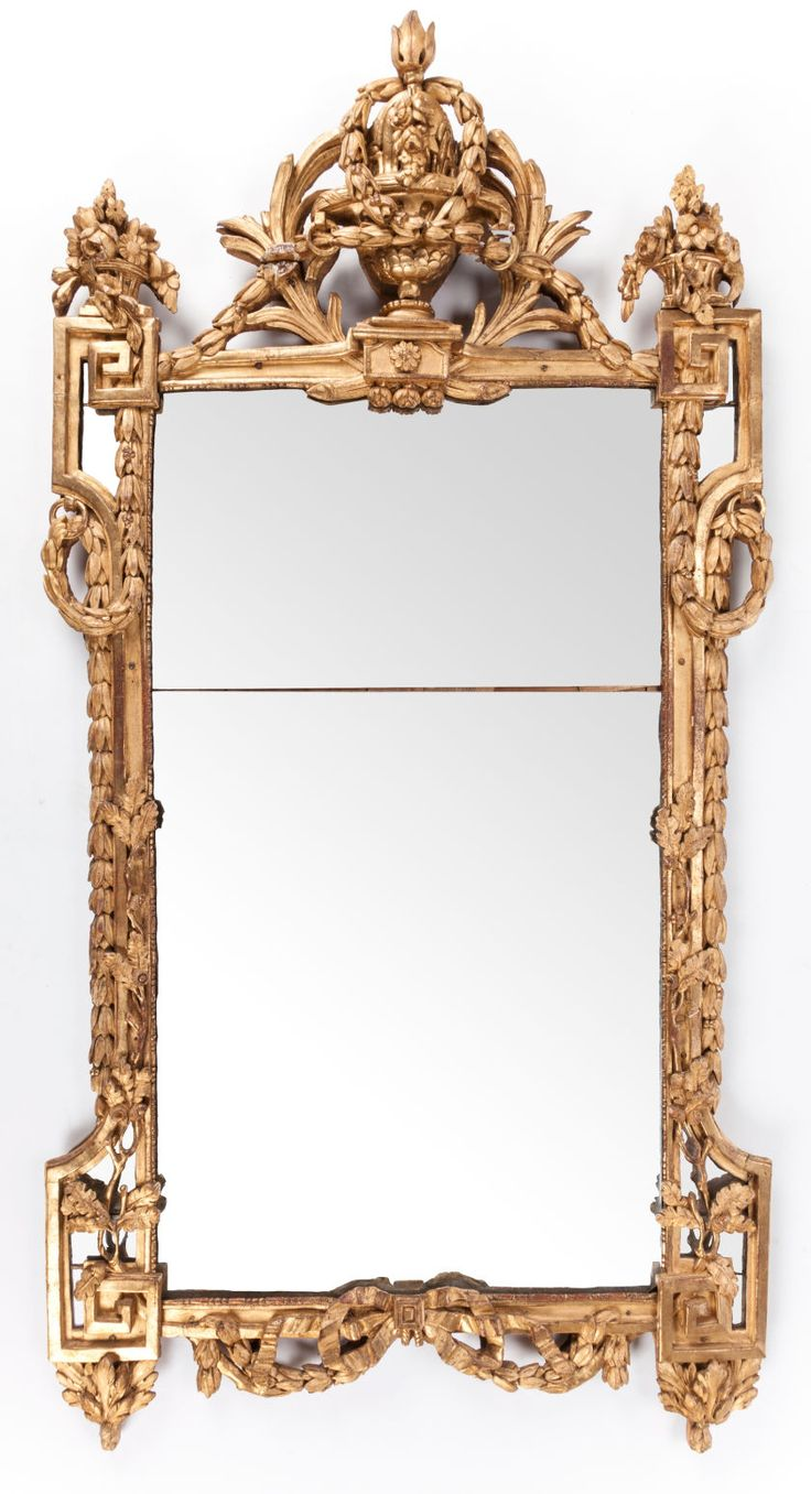 Victorian carved rosewood center table w marble turtle top cottone - A Louis Xvi Style Gilt Wood Mirror France Circa 1900