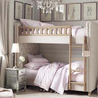 Bunk beds for girls...love it. just get rid of the gaudy chandelier. Marie Antoinette days are over.