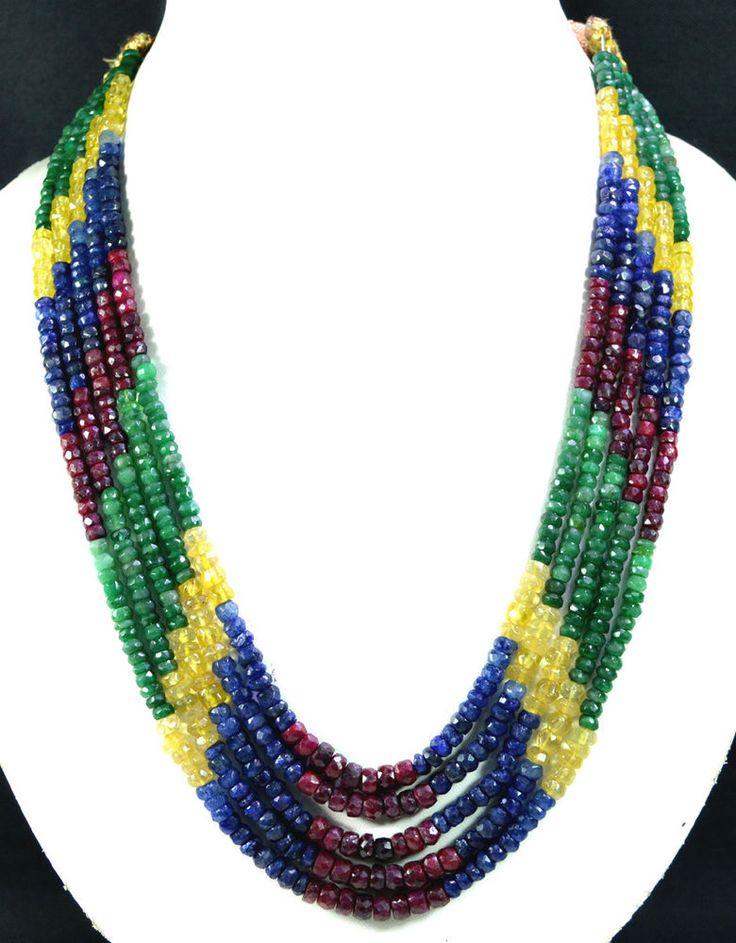 5 Strands Natural Ruby Emerald Sapphire 518ct Multi Row Gemstone Beads Necklace #KrishnaGemsNJewels #StrandString