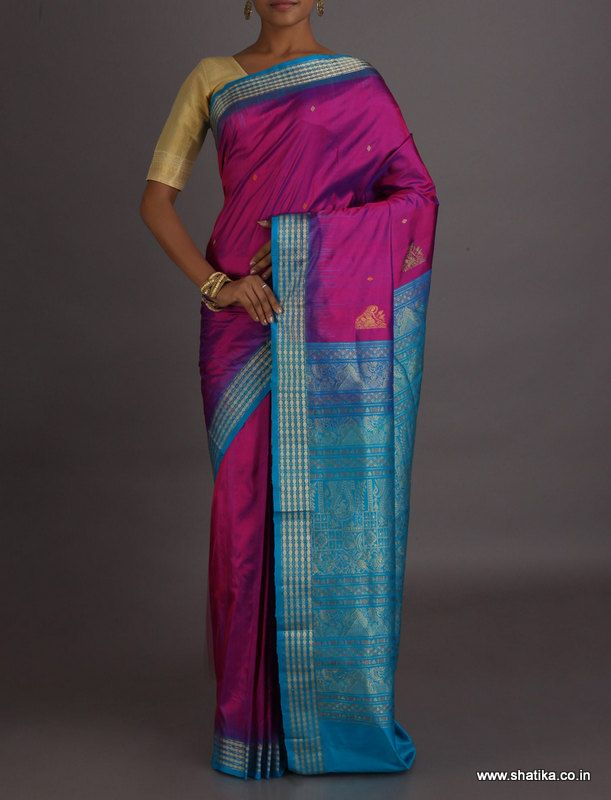 Chetna Vibrant Pink And Blue Intricate #SambalpuriSilkSaree
