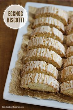 Eggnog Biscotti - a holiday baking recipe made with eggnog & delicious with a cup of coffee, tea, or hot chocolate. Makes a wonderful homemade food gift too.