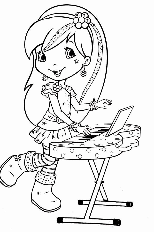 Strawberry Shortcake Coloring Book Unique Raspberry Torte Playing Keyboard In 2020 Strawberry Shortcake Coloring Pages Cartoon Coloring Pages Cute Coloring Pages