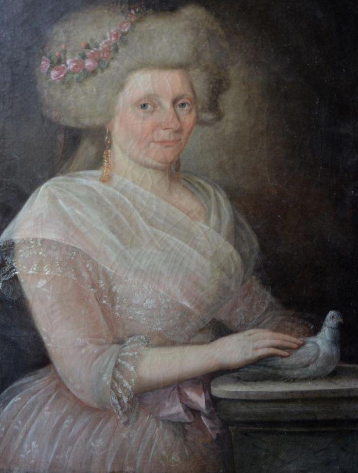 Portrait De Femme à La Colombe, Huile Sur Toile XVIIIème,  la Nation Fait Loi 14 Juillet 1790 , Fourrel de Frettes, Proantic