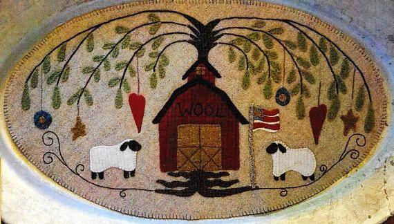 Wool Applique Pattern, Wool Barn, Table Mat, Patriotic Decor, Farmhouse, Primitive Decor, Wool Mat, Sew Cherished, PATTERN ONLY, www.farmersattic.etsy.com, $8.99