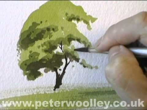 ▶ A Simple Tree - Watercolour Demonstration by PETER WOOLLEY - YouTube