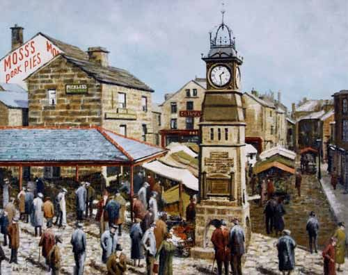 Pete Lapish - Otley Market - Near Leeds - West Yorkshire - England - Buttercross on the left and the Jubilee Clock centre -1900