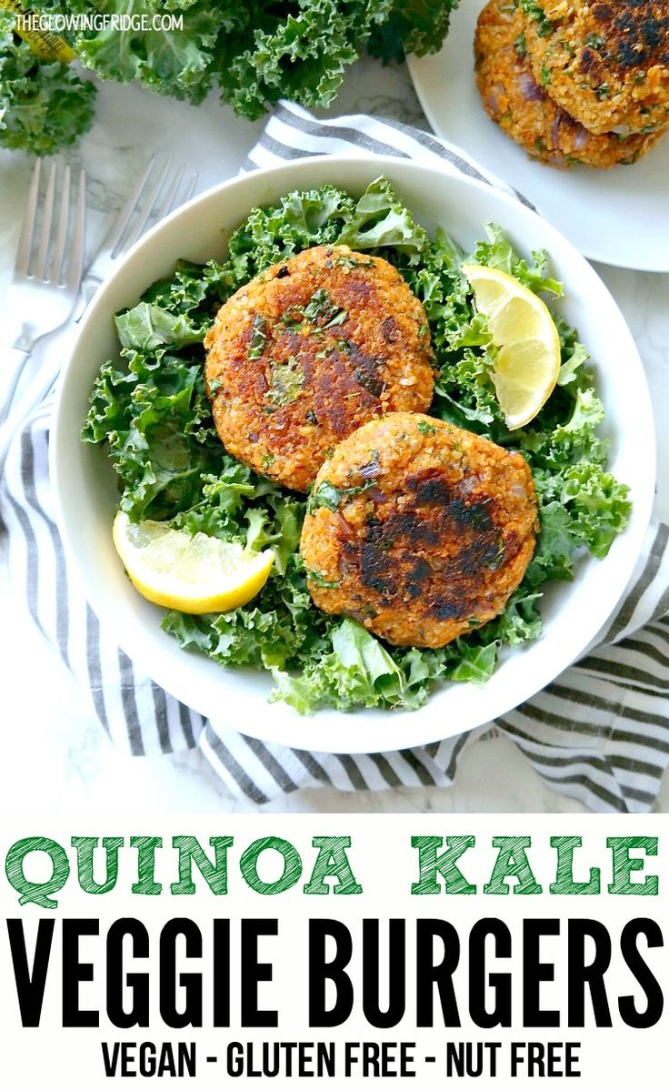VEGAN. GLUTEN FREE. NUT FREE. Quinoa Kale Veggie Burgers. Healthy, full of flavor, hold together and super easy to make. Can be cooked 3 ways (grill, stovetop or baked in the oven!) Perfect for summer grill outs.