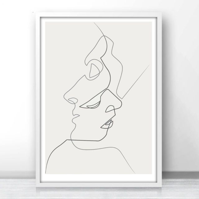 One Line Drawing Face Sketches Kiss Minimalism Art Canvas Poster Abstract Print Face Line Drawing Line Drawing Line Art Drawings
