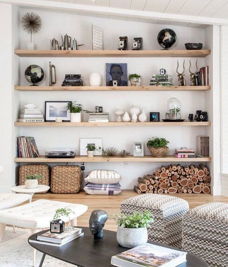 23 Awesome Living Room Design Ideas With Floating Shelves