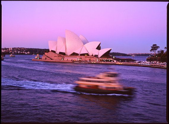 Photograph of the Sydney Opera House and ferry at by freshdarling, $25.00