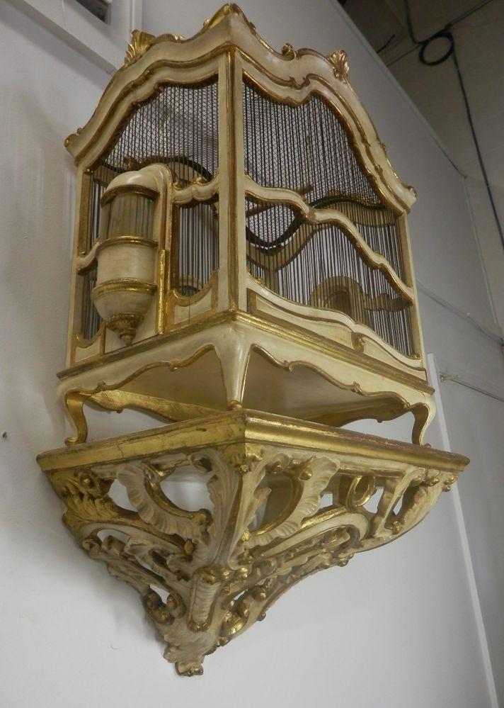 Rare Antique / Vintage Italian Florentine birdcage Wood Carved Bracket Ca.1920