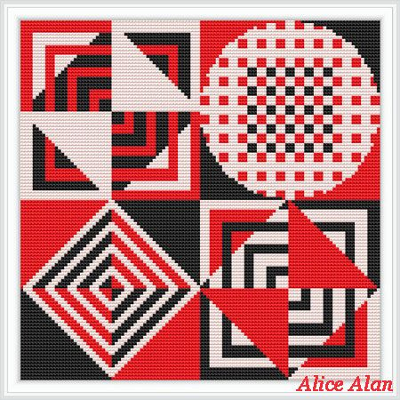 Cross Stitch Pattern Sampler abstract Black red white (paintings, pillows and bags) Counted Cross Stitch Pattern / Instant Download Epattern