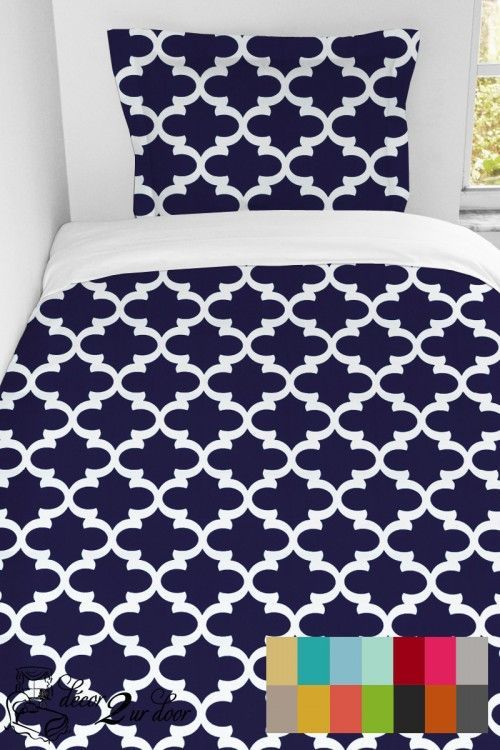 "Custom made duvet - available in all sizes (twin/XL, full/queen, king). Select this stylish quatrefoil pattern in the color of your choice and we will make a custom designer fabric duvet with matching custom designer fabric sham for you. It doesn't get much more custom (and stinkin' adorable) than this!"" http://www.decor-2-ur-door.com/designer-dorm-bed-in-a-bag-sets/black-custom-bedding-se…"
