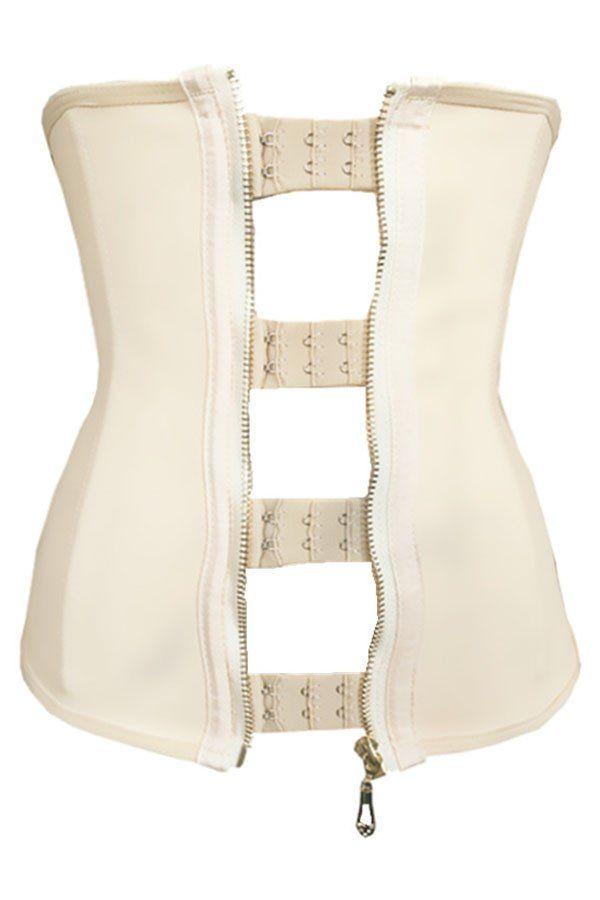 Grande Taille Corsets 9 Bones Acier Zipper Crochets Beige Caoutchouc T – Modebuy.com