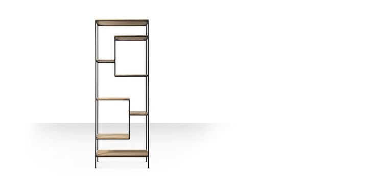 Swoon Editions Shelving unit, contemporary-style in mango wood and iron - £449