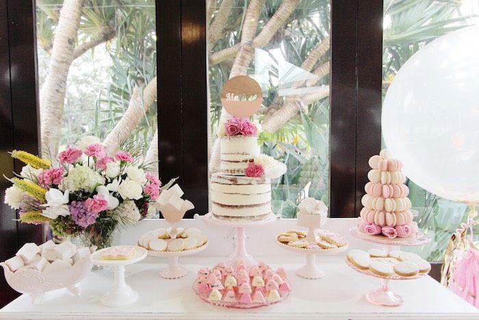 Pretty in Pink Baptism Dessert Table via Kara's Party Ideas   KarasPartyIdeas.com (10)