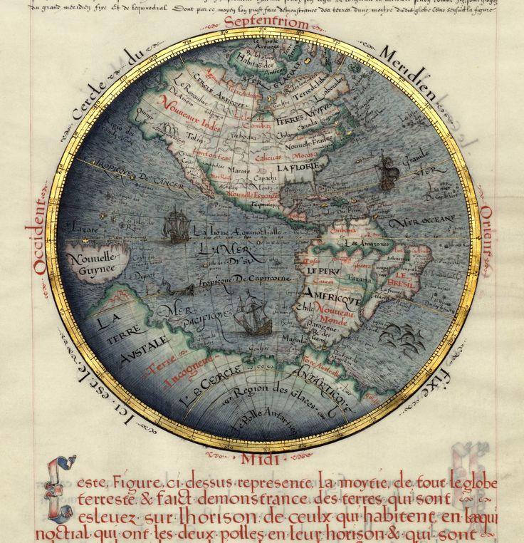 New World Map.  'Les premieres Euvres de Jacques Devualx' (Francia, 1583), Bibliothèque nationale de France, Parigi.