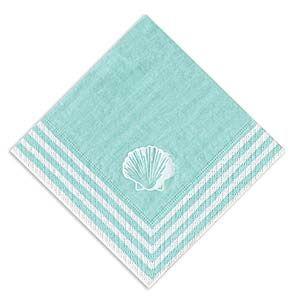 Caspari aqua stripe cocktail napkins