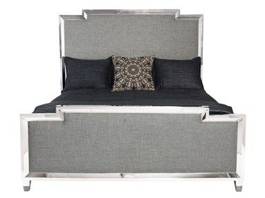 This upholstered grey linen headboard with a mirrored accent creates a stunning contrast of modern and transitional design!  Available at Avenue Design Canada in Montreal Qc