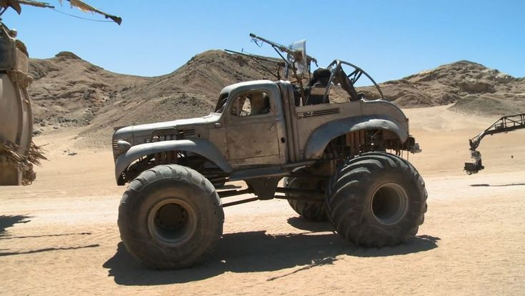 """1940's Fargo pickup truck on top of a monster truck chassis. The vehicle's """"Fury Road"""" name is """"The Big Foot"""". Two actual monster trucks were used in the making of the movie. The monster trucks were both Australian-made: """"Shattered Silence"""" and """"Stress Factor""""."""