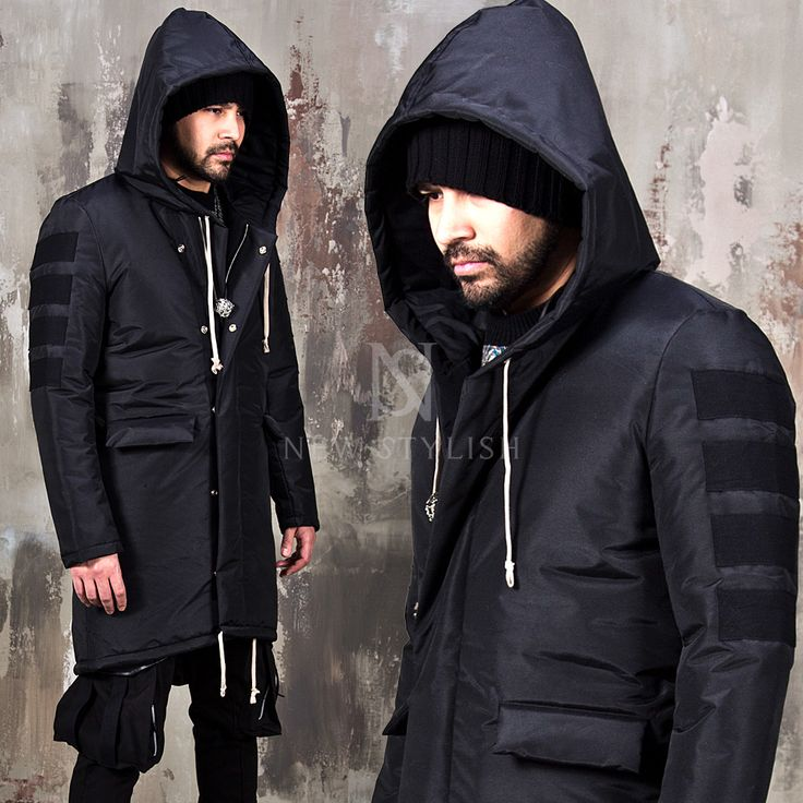 Tape patchwork accent black long padded parka - 38