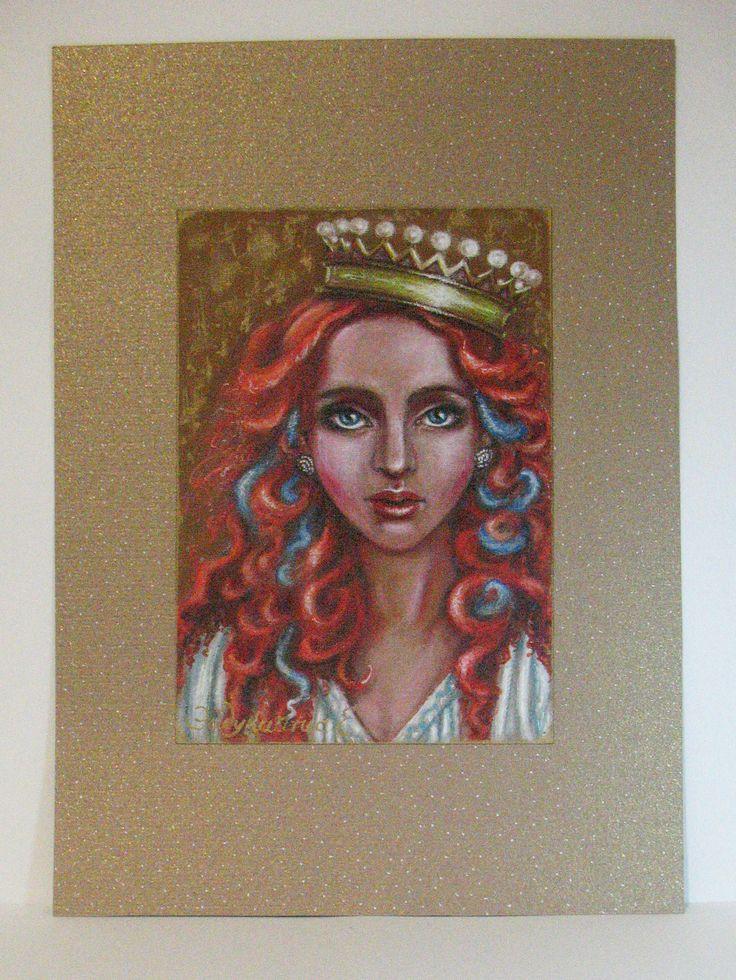 """""""Her Highness"""" - acrylic paints, paper for pastels; """"Её Высочество"""" - Выполнена на бумаге темно-золотистого цвета для пастели с эффектом под холст. Смешанная техника - акриловые краски, гелевые ручки. Акцентирована акриловой краской - металлик бронзового оттенка ( к сожалению, её блеск фотографии не передают). Основа-паспарту - дизайнерский картон, также оттенка бронзы."""