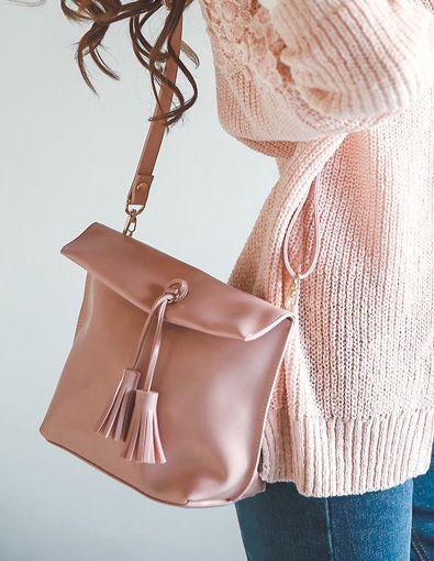 StyleOnme_No. 35535 #tassel #bag #totebag #babypink