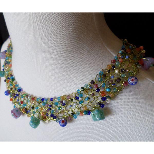 12 moons beadwork collar necklace at StringTheoryDesigns.com - perfect for a summer wedding