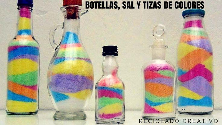 Manualidades con niños una botella de cristal con sal y tizas de colores
