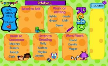 Enjoy this easily customized Daily 5 Rotation. You can use just the first page and have students move their names to the Daily 5 station of their choice or you can use all five slides and have the students look to see which station they are assigned to.