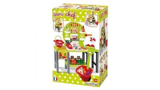 Ecoiffier Groentewinkel 100% Chef Vers Voedsel  In jouw groentewinkel heb je alleen maar de lekkerste groenten liggen. Zorg ervoor dat al jouw groenten er mooi bij liggen zodat klanten ze eerder kopen. De twee tafels zijn op verschillende manieren neer te zetten. 1 groentewinkel 33 accessoires Afmetingen: 64 x 26 x 70 cm Geschikt voor kinderen vanaf 18 maanden  EUR 35.95  Meer informatie