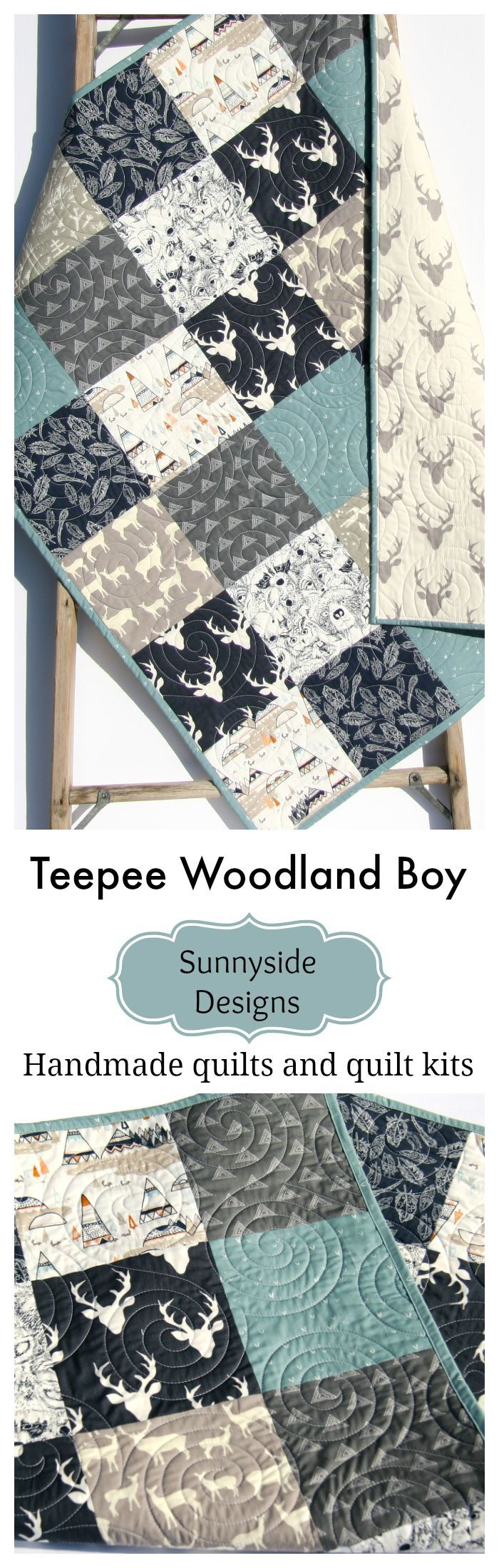 Woodland Teepee Baby Bedding, Handmade Baby Quilt, Toddler Bedding, Deer Forest Animals Modern Baby Boy Nursery Ideas, Teepee Feathers Buck, Baby Quilt Kit, Toddler Quilt Kit, Throw Quilt Kit Twin Quilt Kit Sewing DIY Craft Projects by Sunnyside Designs #