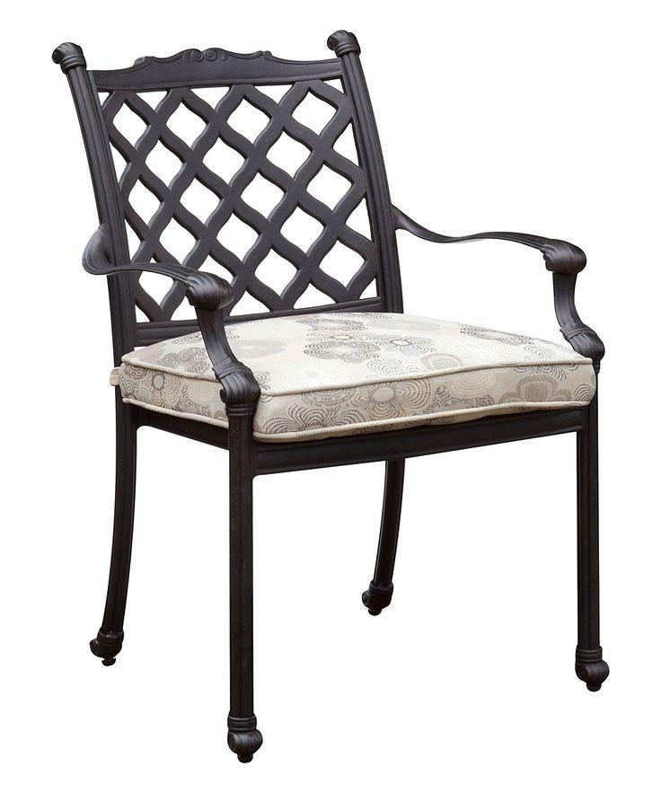 Dark Bronze Delya Transitional Outdoor Metal Arm Chair