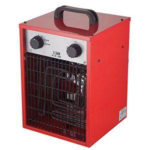 Homeleader Chauffage éclectique en acier inoxydable – Radiateur soufflant – Puissance réglable 30/1650/3300W – Coloris Rouge – ALE-033S-01