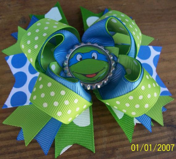 TMNT Teenage Mutant Ninja Turtle Blue 5 Inch Stacked Boutique Bow / Birthday Bow on Etsy, $6.99