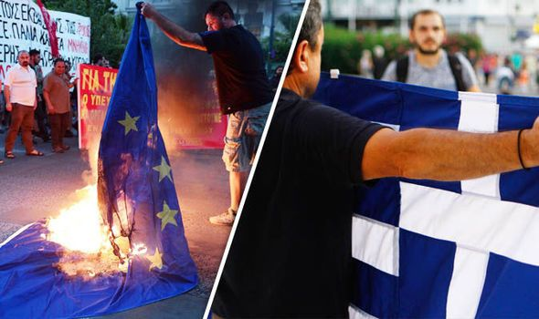 "One man burns EU flag as one holds up Greece flag. Kostas Panagopoulos, head of the Alco polling company, said: ""The lingering financial crisis has made Greeks increasingly resentful of the EU. ""It's the first time that such negative feelings for the euro have been recorded in Greece.""Euroscepticism remains especially high among 15 to 24 year-olds, with 46.9 per cent of young people now being unemployed as jobless soars across all ages. (EU flags should be banned. EU in its death throes…"