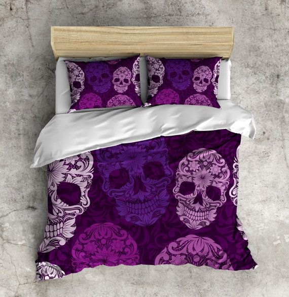 Hey, I found this really awesome Etsy listing at https://www.etsy.com/listing/236011233/shades-of-purple-sugar-skull-bedding