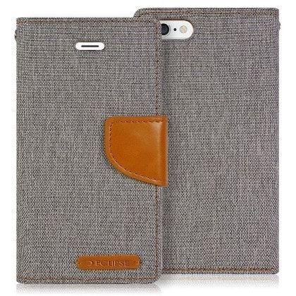 ECLIPSE Canvas Pocket Wallet ZTE ZMAX PRO Case - Gray/Brown