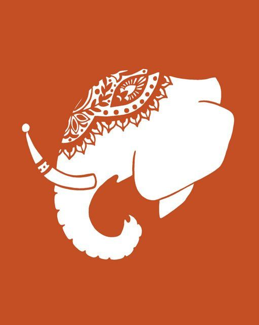 Indian Elephant Silhouette print
