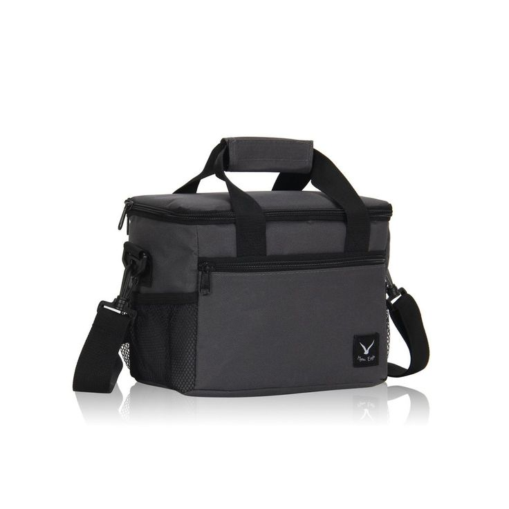 Lunch Cooler Bag 10-Can Insulated Lunch Bag Removable Strap Lightweight, Gray #HynesEagle