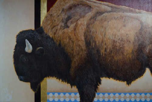 "Janice Tanton IINII NAAPII (OLD MAN BUFFALO) / Canada House Gallery - oil, linen, 22K gold leaf 48"" x 72"""