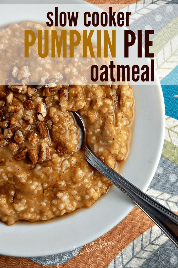 Slow Cooker Pumpkin Pie Oatmeal | Throw it in your crockpot overnight and wake up to a delicious breakfast! It's so filling and healthy for you too! AmyinthKitchen.com