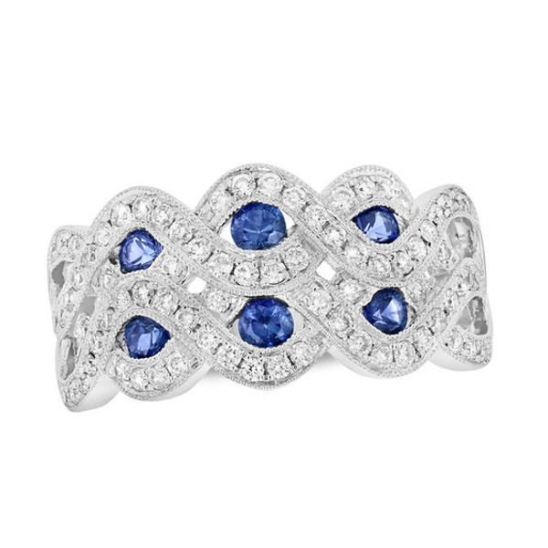 Blue Sapphire And 1 2 Ct T W Diamond Double Row Twist Ring In 14k White Gold In 2020 White Gold Braided Ring Blue Sapphire