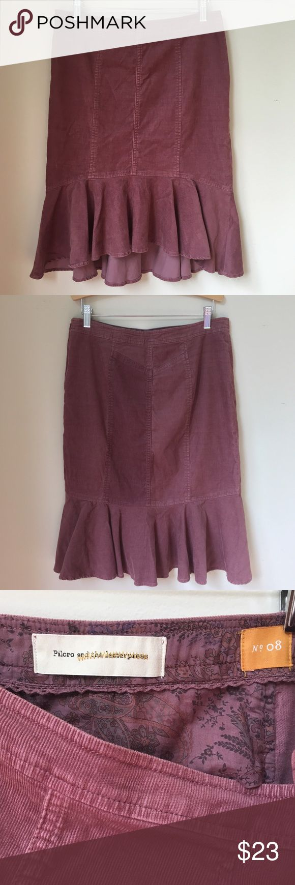 SALE 🇺🇸♥️ Pilcro and The Letterpress Skirt Gently used burgundy corduroy trumpet fir and flare skirt from Anthropologie. Pilcro and the Letterpress. Size 8 Price is Firm Anthropologie Skirts Midi