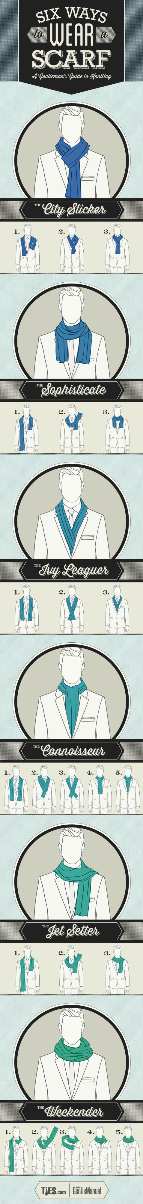 The Ultimate Gentleman Cheat Sheet Every Man Needs how to wear a scarf and totally nail it. Not sure if I'll need this much in Houston, but you can never be too sure.