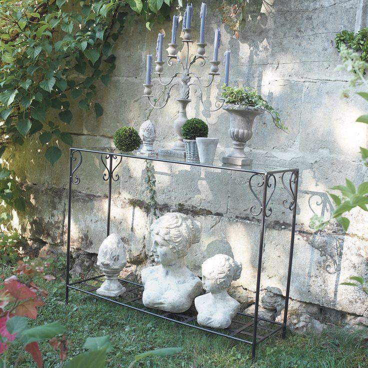 Table console en fer forgé et verre marron L 110 cm Toscane | Maisons du Monde