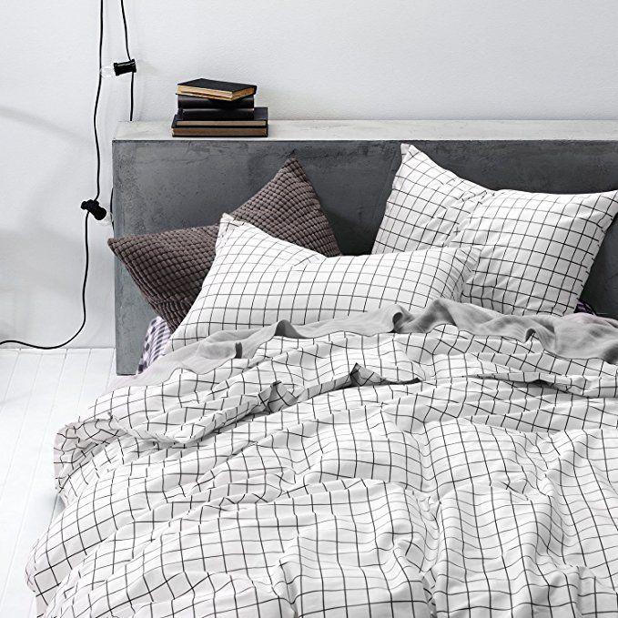Wake In Cloud Grid Duvet Cover Set 100 Cotton Bedding Black Grid Geometric Modern Pattern Printed O Duvet Cover Sets Luxury Bedding Sets Bed Linens Luxury