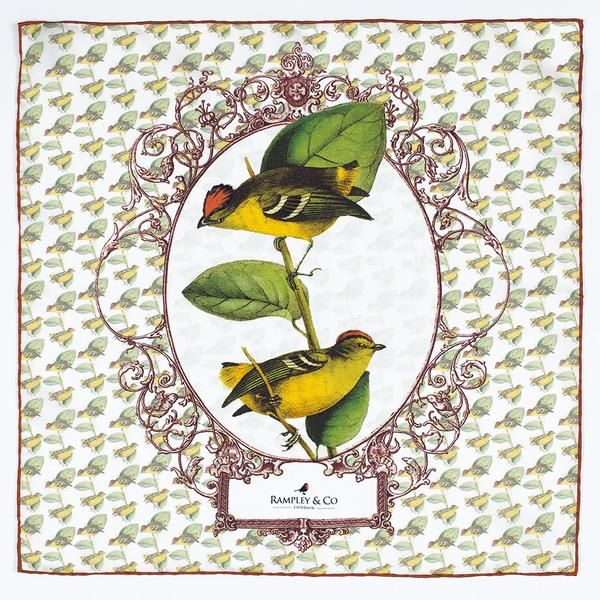 Kinglet Calyptura Silk Pocket Square.