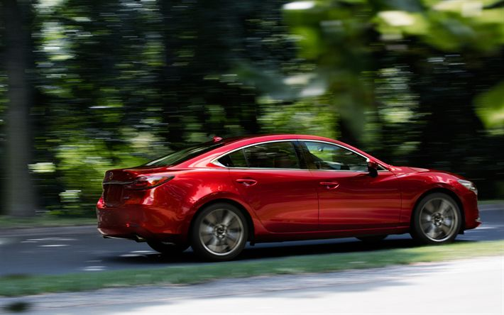 Download wallpapers Mazda 6, 2018, exterior, side view, red new Mazda 6, facelift, Japanese cars, business class, Mazda